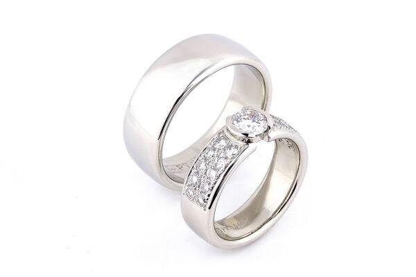 3 Vigselringar i platina och river if diamanter