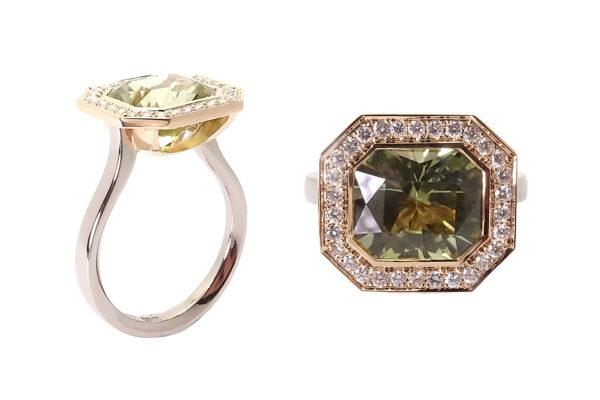 Coctailringar roseguld med turmalin och diamanter roseguld