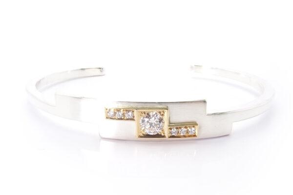 Guldarmband med silver  diamanter