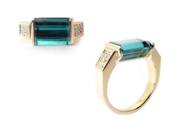 Turmalinring i guld ocg diamanter
