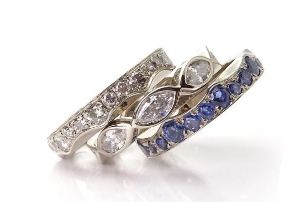 Vigselring med diamanter safirer