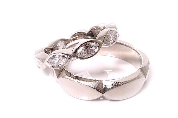 Vigselringar med navettslipade diamanter